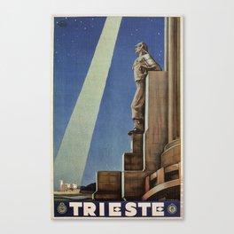 Trieste art deco Italian travel ad Canvas Print