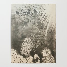 MoonSea EcoSystem Black and White Poster