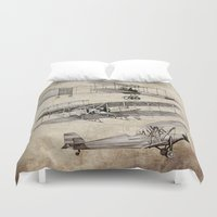 airplanes Duvet Covers featuring airplanes by Кaterina Кalinich