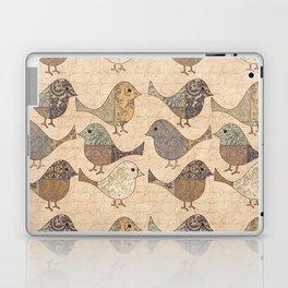 Nostalgic Autumn Patchwork Bird Pattern in warm retro colors #autumndecoration Laptop & iPad Skin