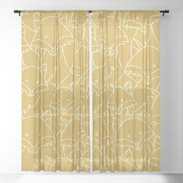 Minimalist Red Fox Sheer Curtain