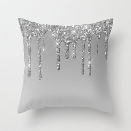 Gray & Silver Glitter Drips Throw Pillow