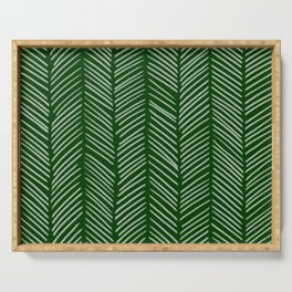 Forest Green Herringbone Serving Tray