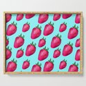 Fun Summery Strawberry Print With Light Blue Background! (Large Scale) by kelseylovelle
