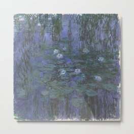 Claude Monet Water Lilies blue Metal Print