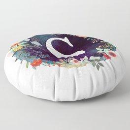Personalized Monogram Initial Letter S Floral Wreath Artwork Floor Pillow