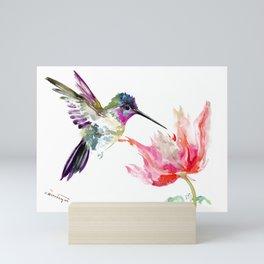 Little Hummingbird and Pink Flower, Bird art, minimalist bird painting, soft pink olive green design Mini Art Print