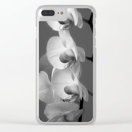 Orchids in Black and white Clear iPhone Case