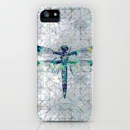 Gemstone Dragonfly on sacred geometry pattern iPhone Case