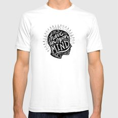 Open Mind White SMALL Mens Fitted Tee