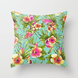 Tropical flowers with parrots Throw Pillow