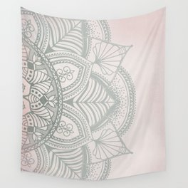 Blush Pink and Mint Mandala Wall Tapestry