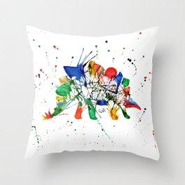 Rainbow Splatter Stegasaurus Dinosaur Throw Pillow