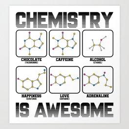 Chemistry Caffeine Alcohol Love Molecule Gift Art Print