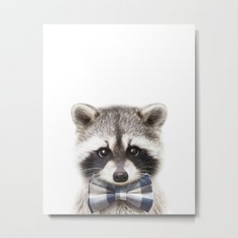 Baby Raccoon With Bow Tie, Baby Animals Art Print By Synplus Metal Print