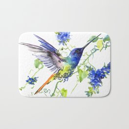Hummingbird and Deep Blue Flowers, flying bird flowers design birds and flowers Bath Mat