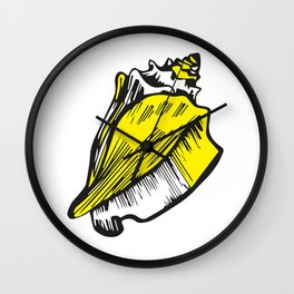 Beach Day Collection -  Conch Shell Yellow Wall Clock