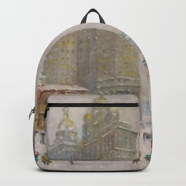 City Hall Park, The New York Scene, NYC skyline winter landscape painting by Guy Carleton Wiggins Backpack
