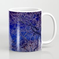 psychadelic Mugs featuring Psychadelic trees frame the moon by Cheryl - DevilBear Photography