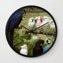 Hyacinth Macaw, Black Cockatoo, Cockatoos, Peach Cockatoo Select Committee by Henry Stacy Marks Wall Clock