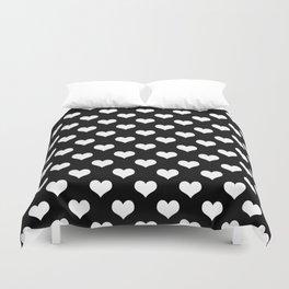 Black White Hearts Duvet Cover