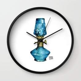 Grandma's Little Blue Oil Lamp Wall Clock
