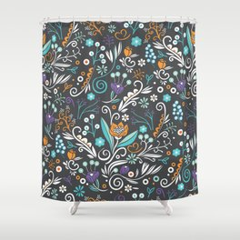 Flower circle pattern, brown Shower Curtain