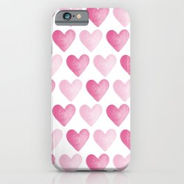Pink Watercolour Hearts pattern iPhone Case