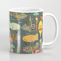 aviation Mugs featuring steampunk sky dark by Sharon Turner