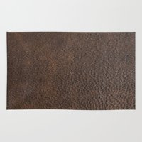 leather Area & Throw Rugs featuring Brown Leather by gypsykissphotography