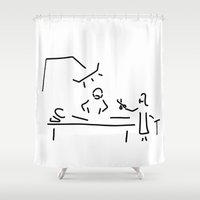 nurse Shower Curtains featuring surgeon operation nurse by Lineamentum