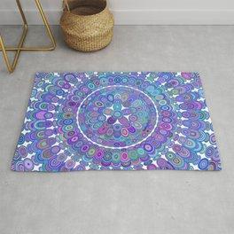 Colorful Happy Floral Mandala Rug