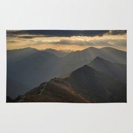 Sunset on the peak Rug
