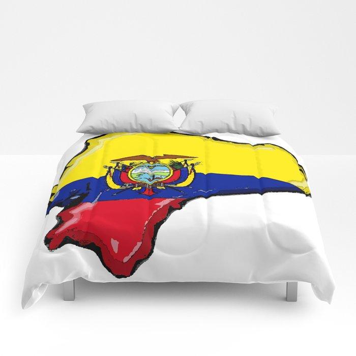 Ecuador Map with Ecuadorian Flag Comforters