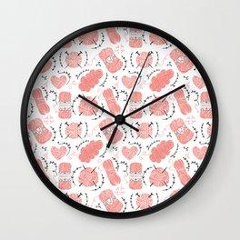 Knitting Yarn Pattern Pink Wall Clock
