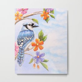 Blue Jay watercolor with Flowers Metal Print
