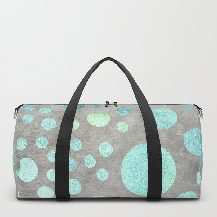 Turquoise Metallic Dots Pattern on Concrete Texture Duffle Bag
