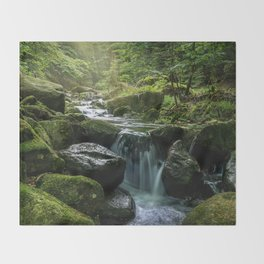 Flowing Creek, Green Mossy Rocks, Forest Nature Photography Throw Blanket
