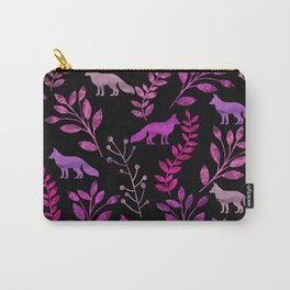 Watercolor Floral & Fox II Carry-All Pouch