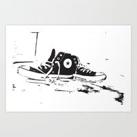 converse Art Prints featuring CONVERSE by PixelRiff