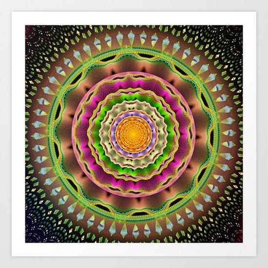 Waves and patterns mandala Art Print