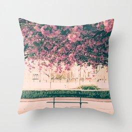 Paris, cherry blossom garden Throw Pillow