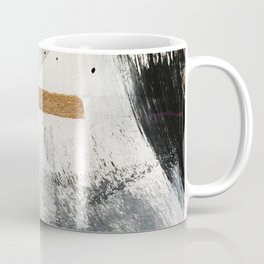Armor [7]: a bold minimal abstract mixed media piece in gold, black and white Coffee Mug