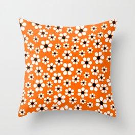 Dizzy Daisies - Orange Throw Pillow