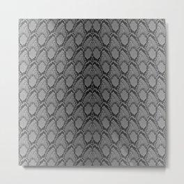 Black and White Python Snake Skin Metal Print