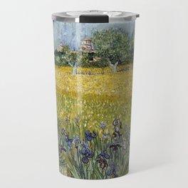 Field with flowers near Arles by Vincent van Gogh Travel Mug