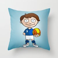 volleyball Throw Pillows featuring Volleyball player by Jordygraph