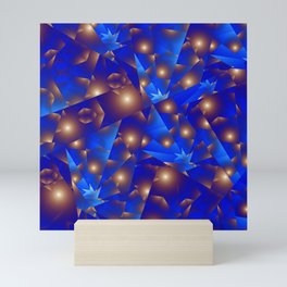 Blue Fractal with Bronze Spheres Mini Art Print
