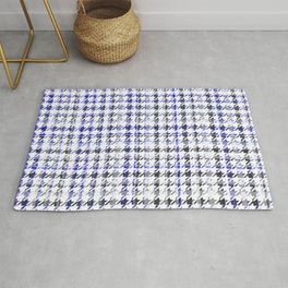 Houndstooth Blue Black and White Plaid Pattern Rug
