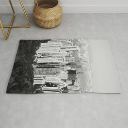 Hong Kong Cityscape // Sky Scraper Skyline Landscape Photography Black and White Buildings Rug